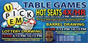 U Pick Em Table Games Hot Seats Promotion