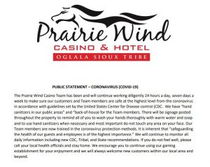 Prairie Wind Casino Public Statement about the Coronavirus
