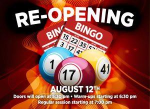 Bingo Open Thursdays, Fridays and Saturdays