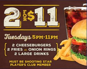 2 for $11 cheeseburger meal promotion