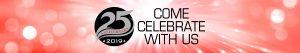 25th anniversary logo come celebrate with us