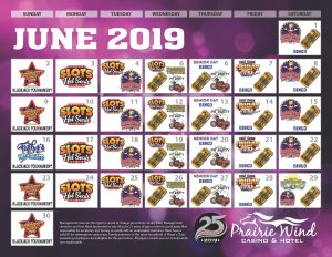 June 2019 Prairie Wind Casino Promotion calendar