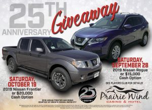 Prairie Wind Casino 25th Anniversary Giveaway October 2019