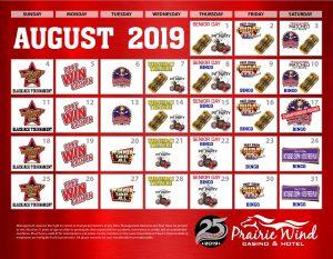 Prairie Wind Casino August 2019 Promo Calendar