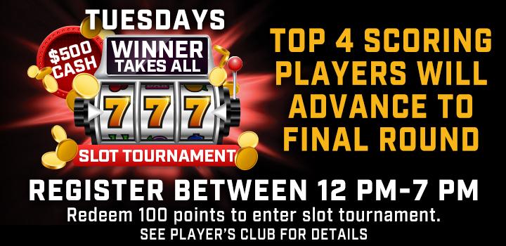 Tuesdays Winner Takes All Slot Tournament at Prairie Wind Casino