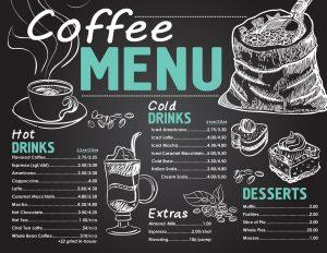 Coffee Menu from Prairie Wind Casino