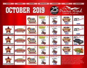 Prairie Wind Casino October 2019 Promo Calendar