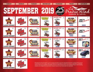 Prairie Wind Casino September 2019 Promo Calendar