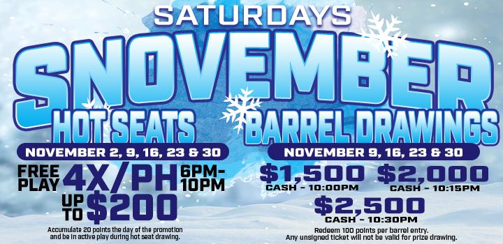 Prairie Wind Casino Snovember Hot Seat and Barrel Drawings Promo