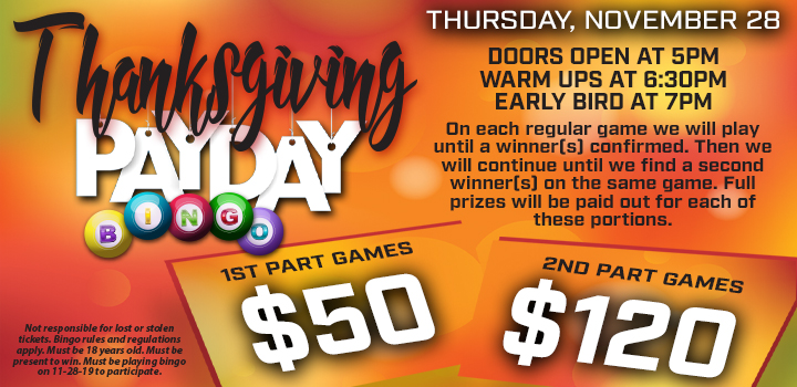 Prairie Wind Casino Thanksgiving 2019 Payday Bingo Promo