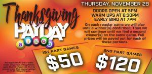 Prairie Wind Casino Thanksgiving Payday Bingo Promo