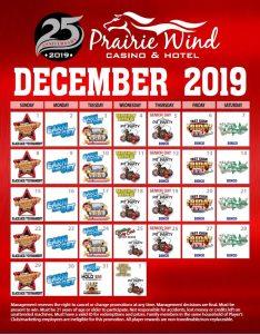 Prairie Wind Casino December 2019 Promo Calendar