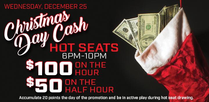 Prairie Wind Casino Christmas Day Cash promo