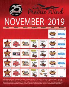 Prairie Wind Casino November 2019 Promo Calendar