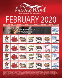 Prairie Wind Casino February 2020 promos