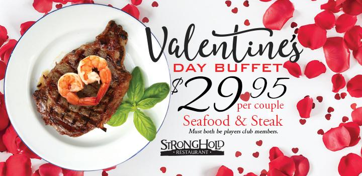 Prairie Wind Casino restaurant Valentine's Day 2020 buffee special