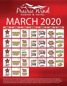 Prairie Wind Casino March 2020 Promos