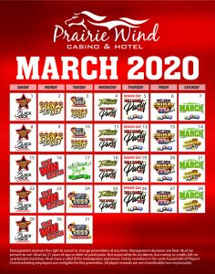 March 2020 promos at Prairie Wind Casino