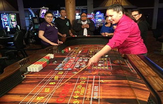 Prairie Wind Casino employee at roulette table
