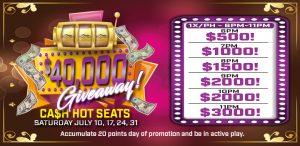 $40,000 Cash Giveaway Hot Seats promo