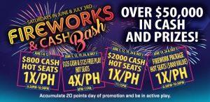 Prairie Wind Casino June and July 2021 Promo - Fireworks & Cash Bash